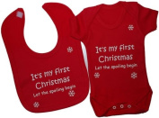 It's My First Christmas Let The Spoiling Begin Baby Bodysuit/Romper/T-Shirt With Princess Feeding Bib Set 0 to 12 Months