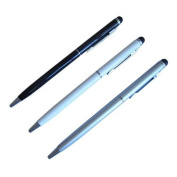 2-in-1 Stylus & Ink Pen for iPad and iPad2, iPhone 4s, Droid Phones - 7mm (Thin Twist) Black + White + Silver