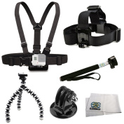 GoPro HD HERO3+, HERO3 (Black, Silver & White) Accessory Kit Includes Chest Mount + Head Mount + Selfie Monopod + Gripster + Tripod Adapter + Microfiber Cleaning Cloth