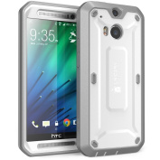 HTC One M8 Case, SUPCASE [Heavy Duty] HTC One M8 Case 2014 Release [Unicorn Beetle PRO Series] Full-body Rugged Hybrid Protective Case with Built-in Screen Protector (White/Grey), Dual Layer Design + Impact Resistant Bumper
