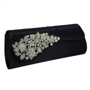 Hard Cased Ruched Satin Clutch Bag With A Sparkly Crystal Flower Wedding Purse Party Prom Bag Box