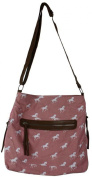 Equestrian Design Pink With White Horse Print Material Body/Messenger Bag
