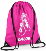 Personlised Duffle/Drawstring Bag with Ballet Shoes - *Choice of colours*