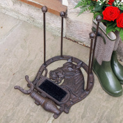 All Weather Robust Horse Cast Iron Shoe Rack Holder with Boot Shoe Footwear Scraper & Brush