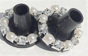 Crystal & Pearl Ring Jewelled Clean Heel, Heel Stoppers in Black