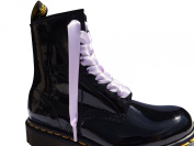 Lilac Pimp My Shoes Double Faced Satin Ribbon Shoelaces / Bootlaces With Aglets For Dr Martens Stunning Black To Fit Boot 1460w 8 eyelet Boot