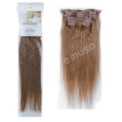 Emosa 7Pcs 70g Clip In Silky Soft Remy Real Human Hair Extensions 46cm #8 Khaki Brown