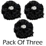 3 Pack Rhinestone Flower Hair Scrunchies Ponytail Holder Hair Tie Band Black