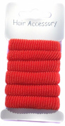 Allsorts® Card of 6 Red Soft Ponios Hair Accessories Hair Bobbles Bands