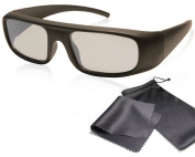 """Passive 3D Movie & TV Glasses - Matt black - Solid And Light Frame - For RealD cinema use and passive 3D TVs such as LG """"Cinema 3D"""" and Philips """"Easy 3D"""" and MOre 3D Tvs from Sony, Toshiba, Panasonic and Hisense - Circularly Polarised - With Microfiber .."""