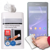 Premium Quality 50-Pack LCD Touchscreen Cleaning Cloths/Wipes with Dispenser for Sony Xperia Z2a and Gadgets