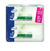 Tena Lady Normal (Now Also In Duo Pack) - Duo Pack Absorbency 130ml - 24 Pieces - Pack Of 3