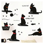 Lovely Black Cat Family Wall Sticker Wall Decal Mural Living Room Sitting Room Decors Sticker Decal Paper