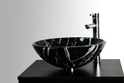 BATHROOM CLOAKROOM COUNTERTOP BLACK AND WHITE MARBLE EFFECT GLASS BASIN SINK