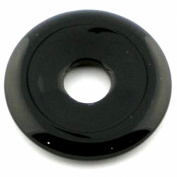 40MM SEMI PRECIOUS GEMSTONE DONUT PENDANT - BLACK ONYX