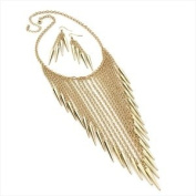 Gold colour chain spike chain necklace and earring set