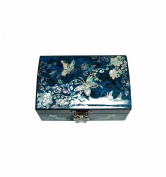 Adorable jewellery box blue butterfly design. Natural pearl, mirror and storage for rings. Korean traditional crafts