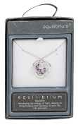 Equilibrium Crystal Butterfly Heart White Gold Plated Pendant Necklace Purple