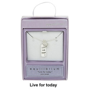 Equilibrium Silver Plated Sparkle Live For Today Pendant Necklace