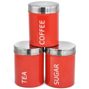 Beyondfashion Black/Red Set of 3 Tea Coffee & Sugar Canisters Enamel Kitchen Storage Containers Jars
