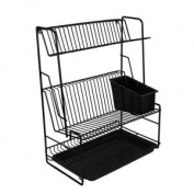 Delfinware 3 Tier Plate Rack, Black