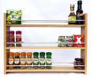 Solid Oak Spice Rack - Holds Up To 36 Spice and Herb Jars - Deep Capacity for Larger Jars and Bottles