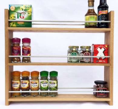 Solid Oak Spice Rack - Holds Up To 30 Spice and Herb Jars - Deep Capacity for Larger Jars and Bottles