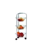 3 Tier Round Fruit Vegetable Storage Rack Chrome Trolley Brand New