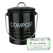 Black Metal Kitchen Compost Caddy & 50x 6L All-Green Biobags - Composting Bin for Food Waste Recycling