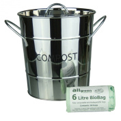 Stainless Steel Metal Kitchen Compost Caddy & 50x 6L All-Green Biobags - Composting Bin for Food Waste Recycling
