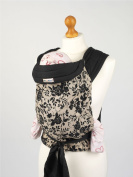 Palm and Pond Mei Tei Baby Sling - Black Floral on Tan