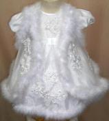 Stunning Baby Girls Maribou trim Christening Gown