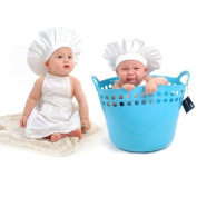 Ukamshop Cute Baby White Cook Costume Photography Prop Newborn Hat Apron