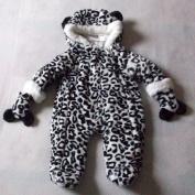 6-9 months - Baby Boys Girls Unisex Snowsuit - Gorgeous Cute Black and White Hooded Faux Fur Animal Print Snowsuit & Mittens Set / Babies Winter Clothes