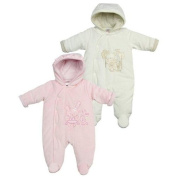 Gorgeous Baby Velour Snowsuit With Polka Dot Lining & Embroidered Bear Motif By Baby Town. Cream Age 3-6 Months