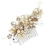 Grace Wedding Hair Comb 14cm (Gold/Ivory)