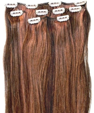 Forever Young Auburn & Brown Mix #4/30 Clip In Human Hair Extension Half Head 50cm Long - 46cm Long