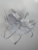 Pretty Cool - Grey Flower & Feather Comb Fascinator