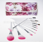 Professional 12pcs Pink In Bloom Make Up Cosmetic Makeup Brushes Kit Set with Case