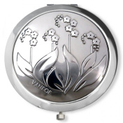 Vanroe 'Forget Me Not' Flower Designer Compact Mirror in Gift Box - Magnified, Engravable, British Pewter & Chrome, Art Nouveau