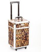 Urbanity Flexi Leopard Professional College Aluminium Beauty Makeup Cosmetic Trolley Case