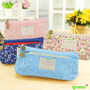 Ipow Pastorable Flower Floral Canvas Double Zipper Large Make Up Cosmetic Pen Pencil Stationery Storage Pouch Bag Case, Set of 4