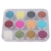 Davidsonne 12 Colours Sparkle Acrylic Glitter Dust Powder Nail Art Polish DIY Decorations