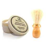 Taylor of Old Bond Street Sandalwood Shaving Cream Jar with FREE Pure Bristle Shaving Brush