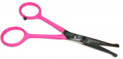TINY TRIM 11cm ball tipped small pet grooming scissor in Pink EAR NOSE FACE PAW
