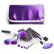 16 PC Makeup Brush Kit with Purple Leather Case