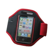 Red iPhone 4 4S Sports Strong ArmBand Padded Cover With Earphone Pocket For SPORTS GYM BIKE CYCLE JOGGING, Tie Phone With Your Arm - by KING OF FLASH
