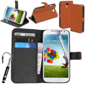 Genuine Madcase® Samsung Galaxy S4 i9500 i9505 Premium PU Leather Side Flip Stand Wallet Case Cover - Brown