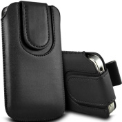 Direct-2-Your-Door - Nokia 301 Magnetic Premium PU Leather Pull Tab Flip Case Cover Pouch - Black
