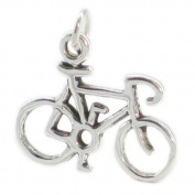Bicycle sterling silver charm .925 x 1 Bike Bikes Cycle Racing charms SSLP3484